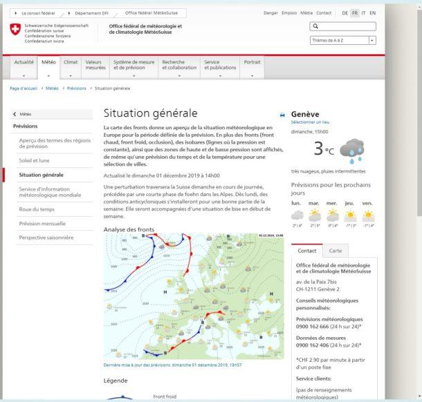 situation générale météo suisse